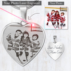Hockey Mom Photo Etched Necklace
