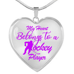 My Heart Belongs To a Hockey Player Necklace