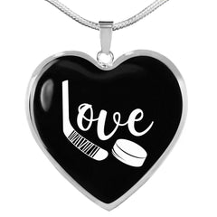 Love Hockey Heart Necklace