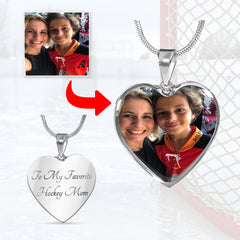 Personalized Hockey Mom Heart Necklace with Engraving