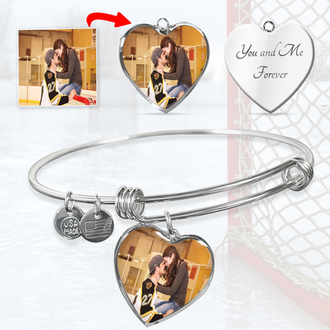 Personalized Hockey Heart Bangle