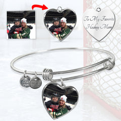 Personalized Hockey Heart Bangle with Engraving