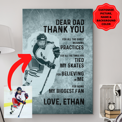 Personalized Hockey Dad Canvas