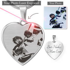 Personalized Etched Hockey Heart Pendant Necklace
