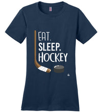 Load image into Gallery viewer, Navy Womens Hockey Shirt for Dedicated Hockey Moms, Hockey Players and Hockey Fans