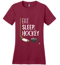 Load image into Gallery viewer, Red Womens Hockey Shirt for Dedicated Hockey Moms, Hockey Players and Hockey Fans