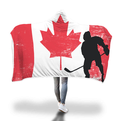 Canada Hockey Hooded Blanket