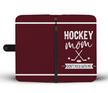 Load image into Gallery viewer, Hockey Mom Wallet Phone Case - Maroon