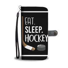 Load image into Gallery viewer, Eat Sleep Hockey Wallet Phone Case for the Hockey Fan, Hockey Mom and Hockey Player