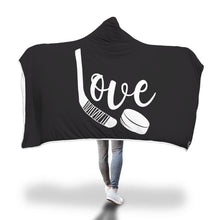 Load image into Gallery viewer, Love Hockey Hooded Blanket