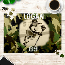 Load image into Gallery viewer, Personalized Hockey Puzzle - Camo Style