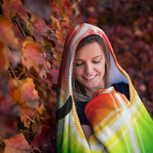 Load image into Gallery viewer, Plaid Rainbow Hockey Hooded Blanket
