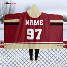 Load image into Gallery viewer, Dark Red/Tan Team Hooded Blanket