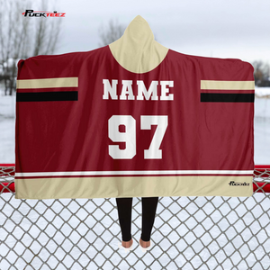 Dark Red/Tan Team Hooded Blanket