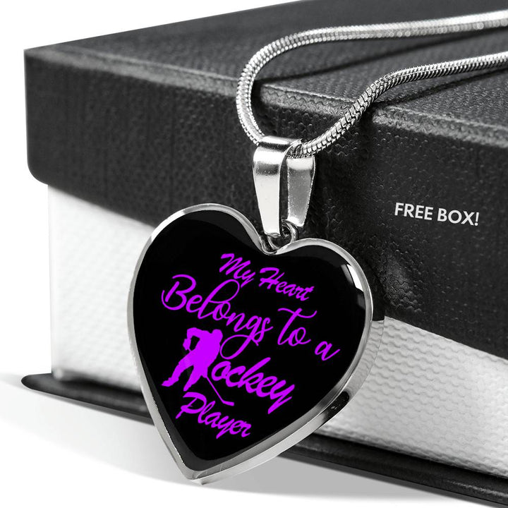 My Heart Belongs To A Hockey Player Luxury Necklace - Black