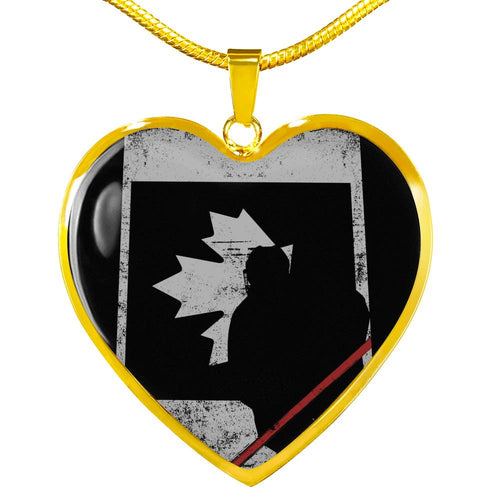 Canada Hockey Heart Necklace