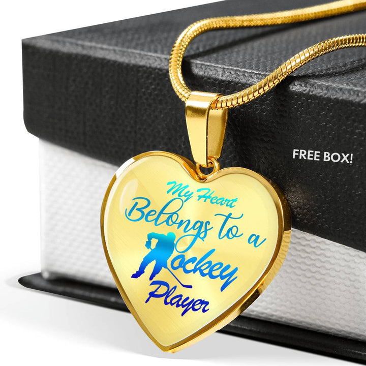 My Heart Belongs To A Hockey Player Luxury Necklace - Transparent