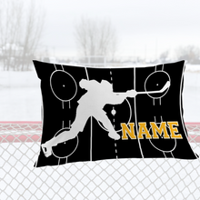 Load image into Gallery viewer, Personalized Black/Gold Hockey Bedding Set