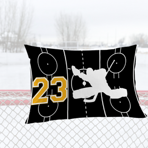 Personalized Black/Gold Hockey Bedding Set