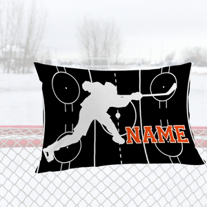 Personalized Black/Orange Hockey Bedding Set