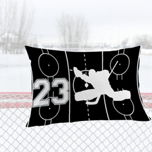 Load image into Gallery viewer, Personalized Black/Silver/White Hockey Bedding Set