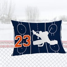 Load image into Gallery viewer, Personalized Blue/Orange Hockey Bedding Set