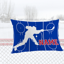 Load image into Gallery viewer, Personalized Blue/Red/White Hockey Bedding Set