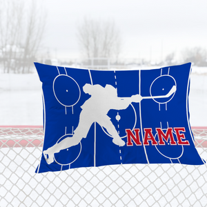 Personalized Blue/Red/White Hockey Bedding Set