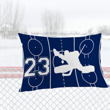 Load image into Gallery viewer, Personalized Blue/White Hockey Bedding Set
