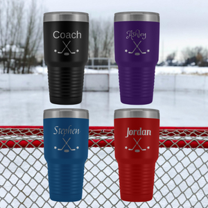 Personalized Hockey Tumblers with 4 colors and 6 different fonts