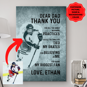 Personalized Thanks Dad Canvas