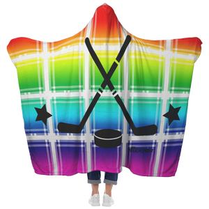 Plaid Rainbow Hockey Hooded Blanket