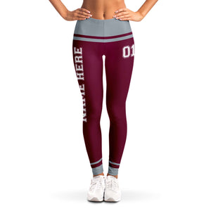 Maroon/Grey Team Leggings