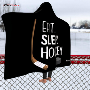 Eat Sleep Hockey Hooded Blanket