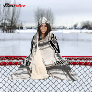 Hockey Mom Checkered Hooded Blanket