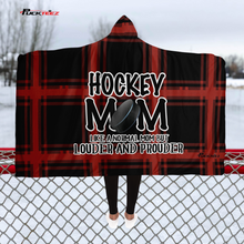 Load image into Gallery viewer, Hockey Mom Buffalo Plaid Hooded Blanket