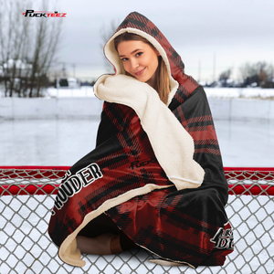 Hockey Mom Red Checkered Hooded Blanket