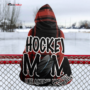 Hockey Mom Buffalo Plaid Hooded Blanket