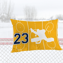 Load image into Gallery viewer, Personalized Gold/Blue/White Hockey Bedding Set