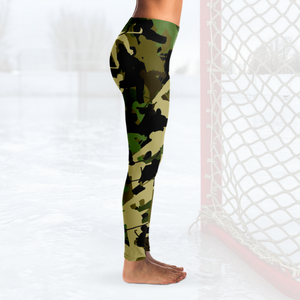 Hockey Camo Leggings - Green