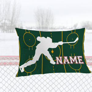 Personalized Green/Red Hockey Bedding Set