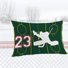 Load image into Gallery viewer, Personalized Green/Red Hockey Bedding Set