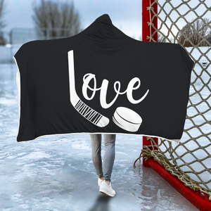 Love Hockey Hooded Blanket