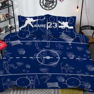 Personalized Blue/White Hockey Bedding Set