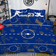Load image into Gallery viewer, Personalized Blue/Yellow Hockey Bedding Set