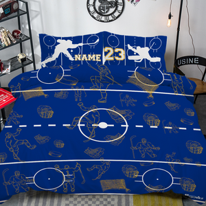 Personalized Blue/Yellow Hockey Bedding Set