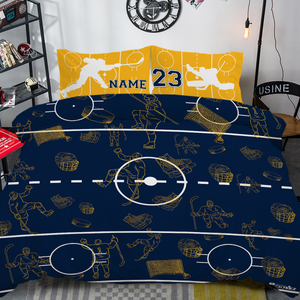 Personalized Gold/Blue/White Hockey Bedding Set