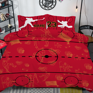 Personalized Red/Black/Gold Hockey Bedding Set