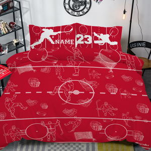Personalized Red/White Hockey Bedding Set