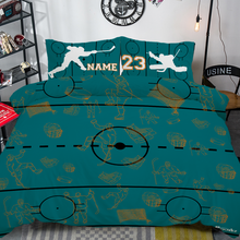 Load image into Gallery viewer, Personalized Teal Hockey Bedding Set